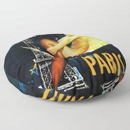 Vintage Paris La Nuit Ville Des Folies Eiffel Tower and Moon Advertising Poster Floor Pillow