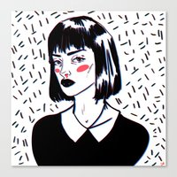 mia wallace Canvas Prints featuring Mia Wallace by carolinemills