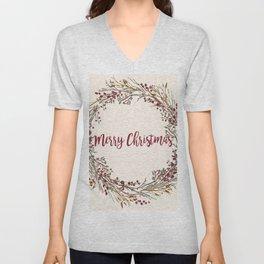 Merry Christmas Wreath Unisex V-Neck