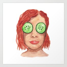 Watercolor red-haired girl with a mask of cucumbers in her eyes. Art Print