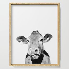 Cow photo - black and white Serving Tray