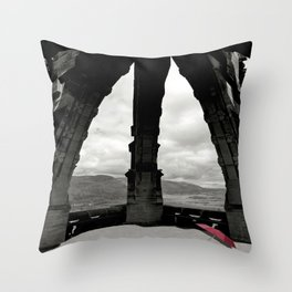 The Red Umbrella and view from Stirling's Wallace Monument  Throw Pillow