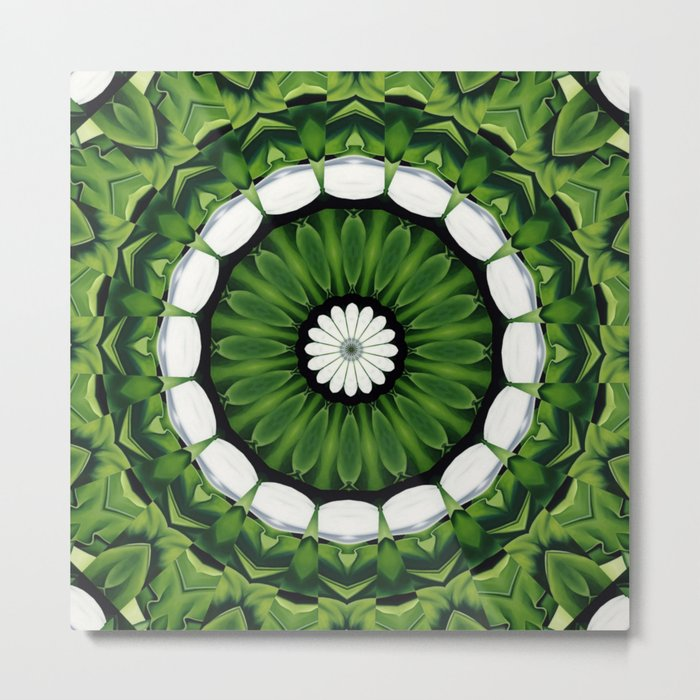 Tropical Green and White Floral Mandala Metal Print