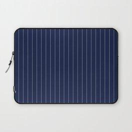 Navy Blue Pinstripes Line Laptop Sleeve