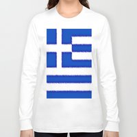 greek Long Sleeve T-shirts featuring Greek flag by Created by Eleni