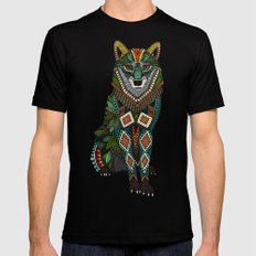 wolf red MEDIUM Black Mens Fitted Tee