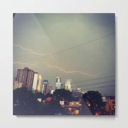 Lightning bolt over minneapolis Metal Print