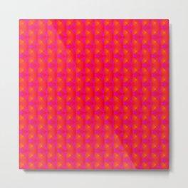 Chaotic pattern of pink rhombuses and orange pyramids. Metal Print