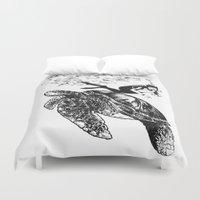 scuba Duvet Covers featuring Scuba Diving -Turtle by Adriana Shibata