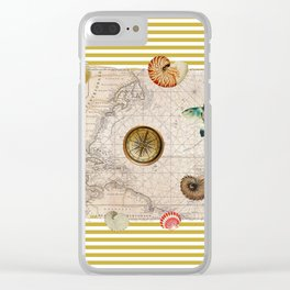 Marine Treasures Mustard Yellow Stripes Clear iPhone Case