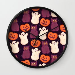 Halloween Marshmallows Wall Clock