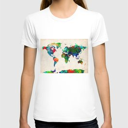 World map watercolor grunge T-shirt