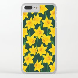 Yellow Daffodils Pattern Clear iPhone Case