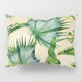 Green Tropics Leaves on Linen Pillow Sham