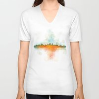 kansas city V-neck T-shirts featuring Kansas City Skyline UHq v4 by HQPhoto