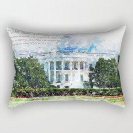 White House, Washington DC, Watercolor Rectangular Pillow