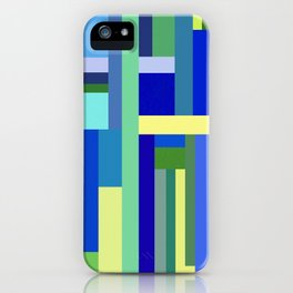 Abstract Blue Lime Pattern iPhone Case