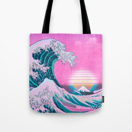 Vaporwave Aesthetic Great Wave Off Kanagawa Tote Bag