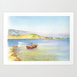 Poros boats Art Print