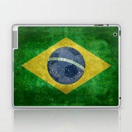 Flag of Brazil with football (soccer ball) retro style Laptop & iPad Skin