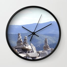 Rock Cairns Over the Mountain Wall Clock