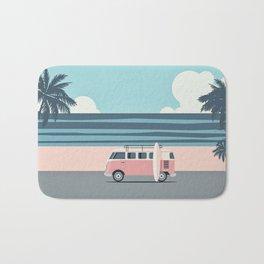 Surfer Graphic Beach Palm-Tree Camper-Van Art Bath Mat
