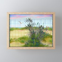 Plaid Beachscape with Seagrass Framed Mini Art Print