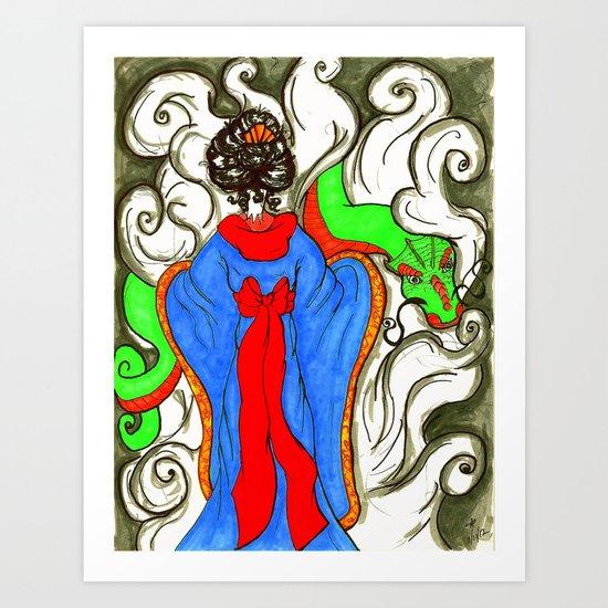 """A Girl and Her Pet Dragon"" Art Print"