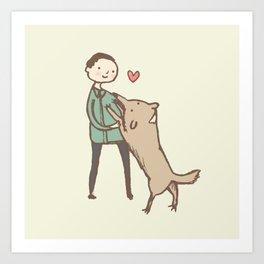 Man & Dog Art Print