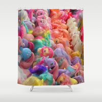 my little pony Shower Curtains featuring My Little Pony horse traders by Pansy