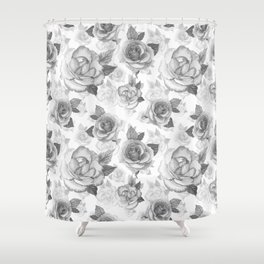 Hand painted black white watercolor roses floral pattern Shower Curtain