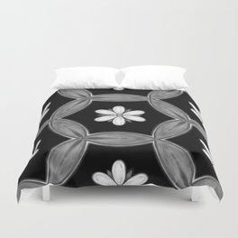 black and white hippie flower pattern Duvet Cover