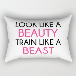 Look Like A Beauty / Train Beast Gym Quote Rectangular Pillow