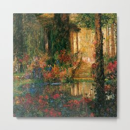 Garden of Enchantment from Parsifal red flowers and roses floral portrait painting  by Thomas Mostyn Metal Print
