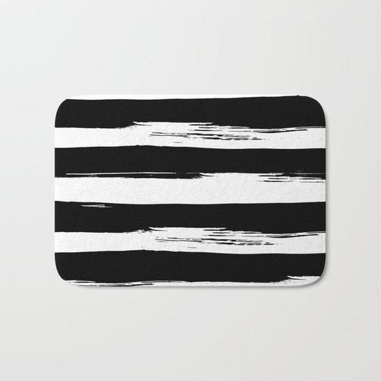 Paint Stripes Black and White Bath Mat