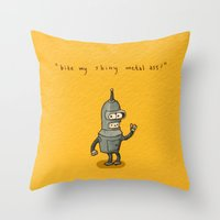bender Throw Pillows featuring Bender Toki by KarolynSeonjoo