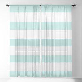 Aqua blue and White stripes lines - horizontal Sheer Curtain