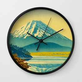 Japanese Woodblock Print Vintage Asian Art Colorful woodblock prints Mount Fuji Wall Clock