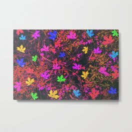 maple leaf in yellow green pink blue red with red and orange creepers plants background Metal Print