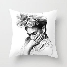 Frida Kahlo - pencil portrait Throw Pillow