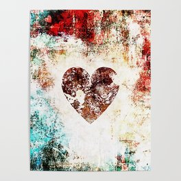 Vintage Heart Abstract Design Poster