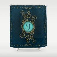 monogram Shower Curtains featuring Monogram J by Britta Glodde