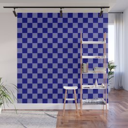 Large Navy Blue Check Pattern Wall Mural