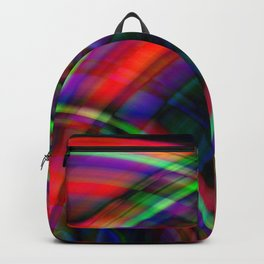 Symmetrical curved semicircles with a crisp scarlet accent and all the colors of the rainbow. Backpack