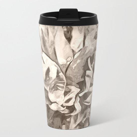 Painted Peony Sepia Cocoa Metal Travel Mug