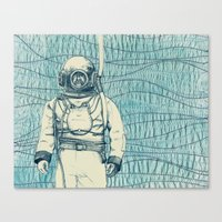diver Canvas Prints featuring Diver by Alli Coate