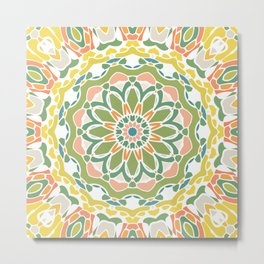 Green Flower Mandala Metal Print