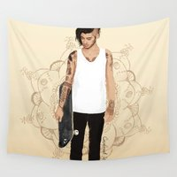 zayn Wall Tapestries featuring Skater Zayn  by Coconut Wishes