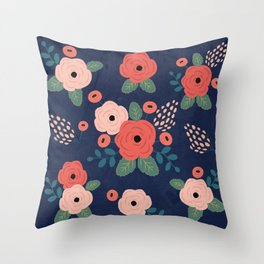 Flower Pattern, Pink Red Flowers on Blue, Vintage, Floral Throw Pillow