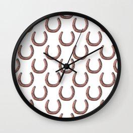Rusty Horseshoe Polka Dot Pattern Wall Clock
